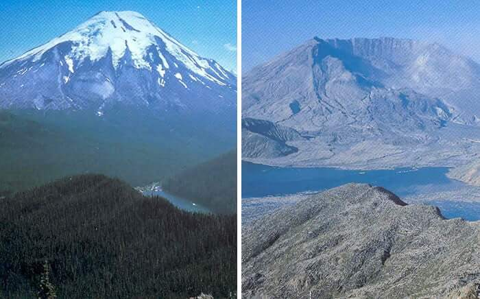 The Before And After Photos of Mountain St. Helens