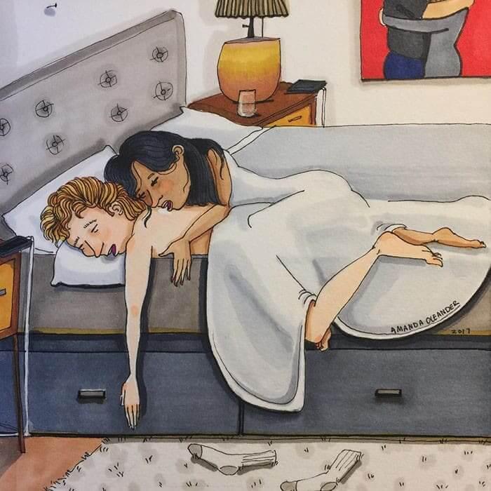 Cuando tienes una cama grande pero usas 1/3