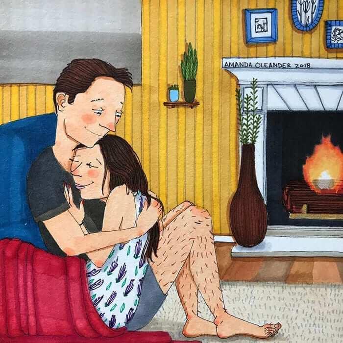 Abrazos junto al fuego