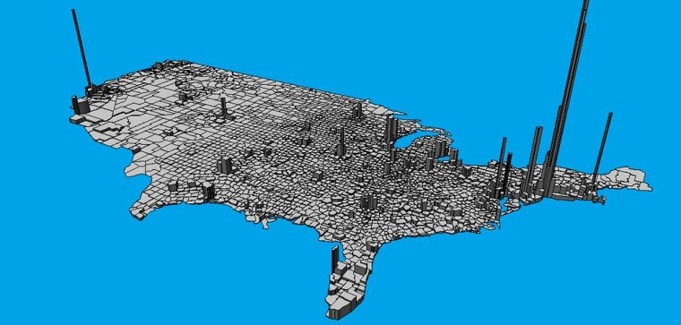 3D Map of Population Density
