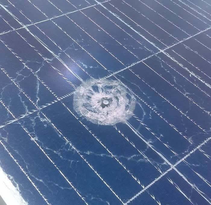 Stray Bullet Shattered Brand New Solar Panels...Only In America