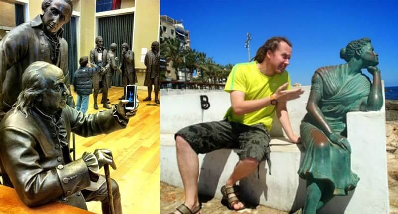 40+ Times People Took Posing With Sculptures To Another Level
