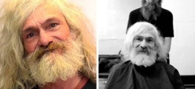 Hair Salon Gives Homeless Guy An Incredible Makeover
