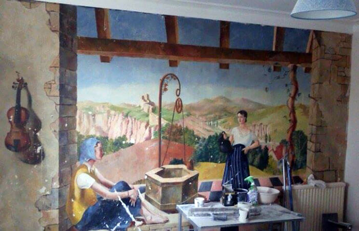 A Beautiful Painting Covered By Wallpaper