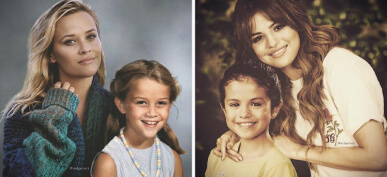 40+ Amazing Photos Of Celebrities Photoshopped Next To Their Younger Selves