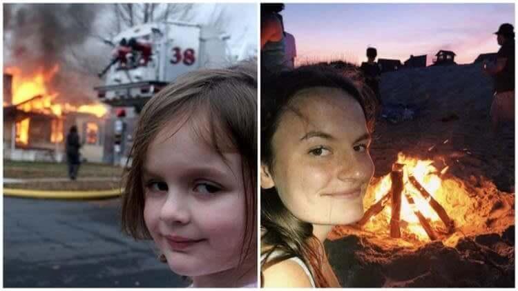 Garota que aparentemente colocou fogo na casa sorrindo para a câmera. 10 anos depois, a mesma garota sorrindo na mesma posição em frente a uma fogueira.